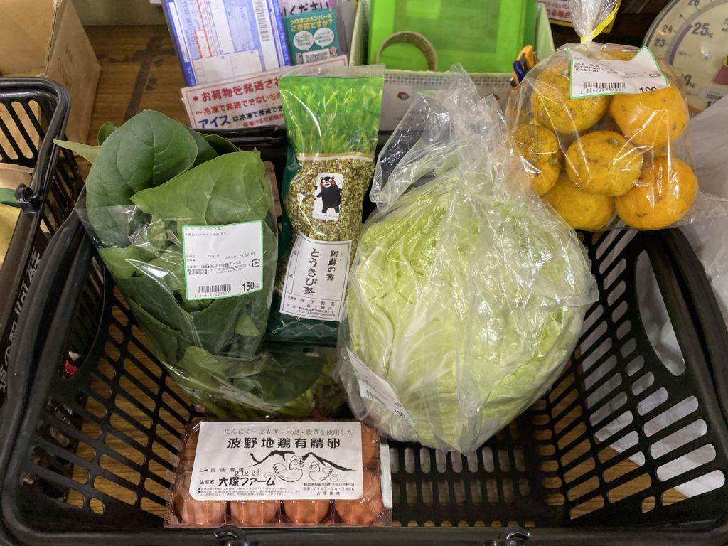道の駅阿蘇で購入した食材を撮影した写真